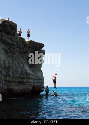 The Sea Caves, at Cavo Greco, not far from Ayia Napa, Cyprus, is a popular place for tourists. You can jump off - Stock Image