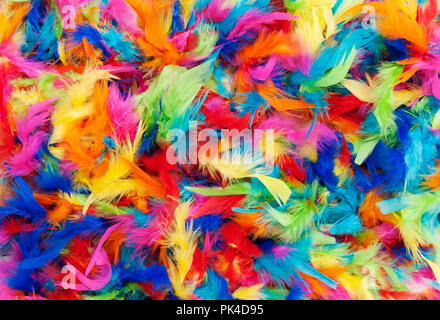 background texture of bright colorful feathers in rainbow colors - Stock Image