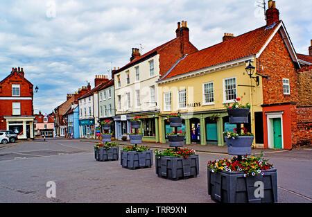 Delhi and shops, Malton, Food Capital of Yorkshire, North Yorkshire, England - Stock Image