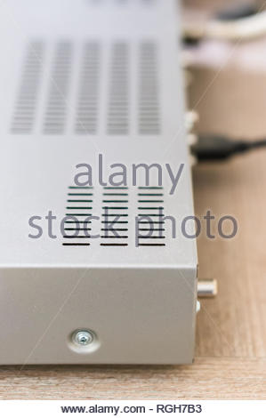 Close up of a plastic receiver on a wooden table. - Stock Image