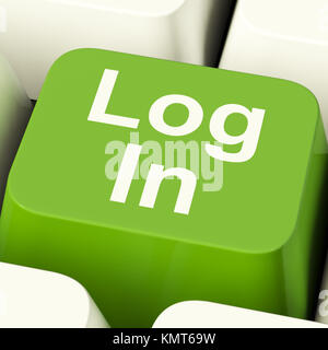 Log In Computer Key Green Showing Access And Entering Websites - Stock Image