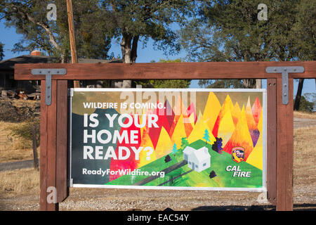 A wildfire preparation sign in drought struck California, USA. - Stock Image
