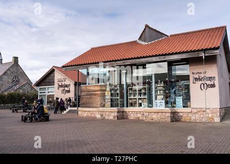 Lindisfarne or Holy Island, Northumberland coast south of Berwick-on-Tweed, England. The Lindisfarne Mead shop. - Stock Image