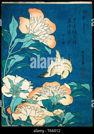 Katsushika Hokusai, Peonies and Canary (Shakuyaku, kanaari), print, c. 1834 - Stock Image