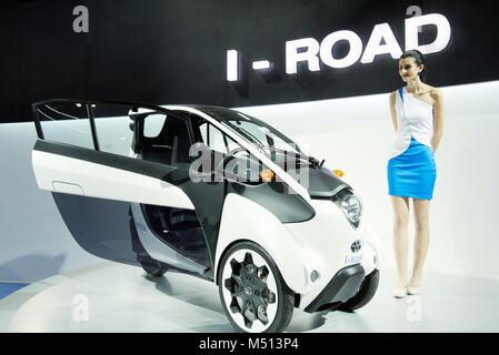 Greater Noida, India. 14th February 2018. Toyota i-Road personal mobility vehicle is on display at Auto Expo 2018 - Stock Image