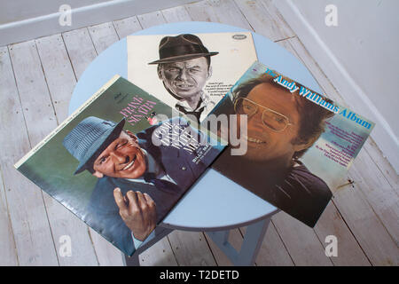Two Frank Sinatra and one Andy Williams record covers - Stock Image
