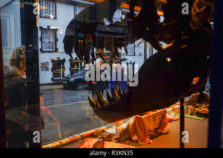 The Old Forge Fossil Shop in Lyme Regis West Dorset UK with Tyrannosaurus rex model in window - Stock Image