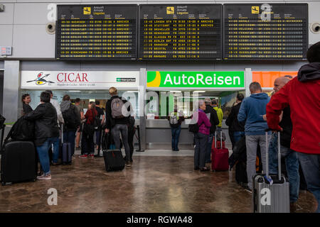 Cicar and Autoreisen car rental office, counter, at Tenerife south airport arrivals area, Canary Islands, Spain - Stock Image