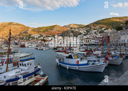 The beautiful harbor of Hydra island - Stock Image