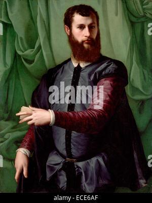 Portrait of a Man by Francesco Salviati, Italian, circa 1544 - 1548; Oil on panel; Unframed: 108.9 x 86.4 cm (42 - Stock Image