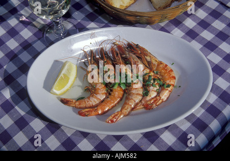Fresh fried shrimps with lemon at dish on table with blue and white table cloth at lunch restaurant at the coast - Stock Image