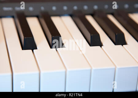 Black and white keys on an electronic piano keyboard - Stock Image