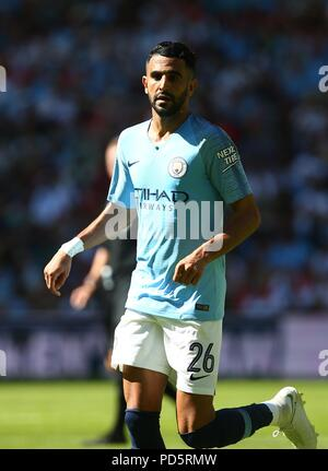 Riyad Mahrez of Manchester City during the FA Community Shield match between Chelsea and Manchester City at Wembley Stadium in London. 05 Aug 2018 - Stock Image