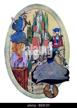 Harry Clarke Art Nouveau Print Illustration Fairy Tales Hans  Andersen first Coker & Co 1919 THE HARDY TIN SOLDIER - Stock Image
