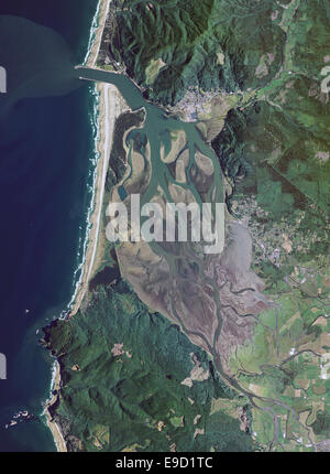 aerial photo map of Tillamook Bay, Oregon - Stock Image