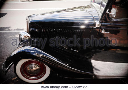 Vintage motor car with white walled tyres. In Australia. - Stock Image
