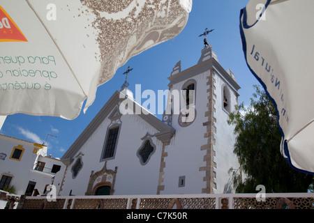 Portugal, Algarve, Alte, Church & Sunshades - Stock Image