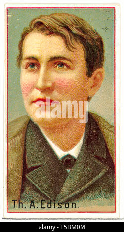 Thomas A. Edison, cigarette card portrait, printer's sample for the World's Inventors souvenir album for Allen & Ginter Cigarettes ,1888 - Stock Image