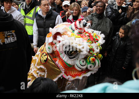 London, UK: 14 February 2010: People take photo of the tiger mascot in China Town, London. Chinese New Year celebration in London. Photo Credit: David Mbiyu - Stock Image