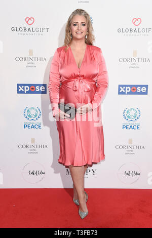 London, UK. 08th Apr, 2019. LONDON, UK. April 08, 2019: Hayley McQueen arriving for the Football for Peace initiative dinner by Global Gift Foundation at the Corinthia Hotel, London. Picture: Steve Vas/Featureflash Credit: Paul Smith/Alamy Live News - Stock Image
