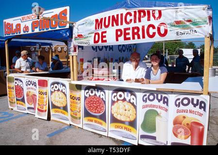 Miami Florida La Feria de Los Municipios Cubans in exile festival honors former Cuban municipalities vendors - Stock Image