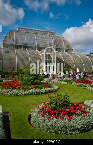 The Palm House in The Royal Botanic Gardens Kew Gardens London England UK - Stock Image