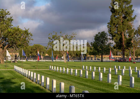 Los Angees, California USA 26 May 2018 Headstones at Los Angeles Memorial Cemetery. - Stock Image