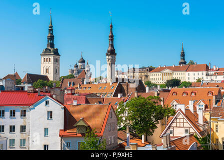 Tallinn old town, skyline view on a summer afternoon of the medieval Old Town quarter in Tallinn, Estonia. - Stock Image