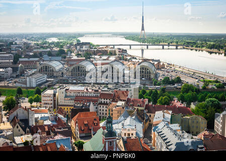 Riga cityscape, view south over Riga Old Town towards the Central Market Zeppelin hangar buildings and the 'Moscow Suburb' beyond, Latvia. - Stock Image