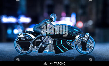 Biker girl with helmet riding a sci-fi bike, woman on black futuristic motorcycle in night city street, side view, 3D rendering - Stock Image
