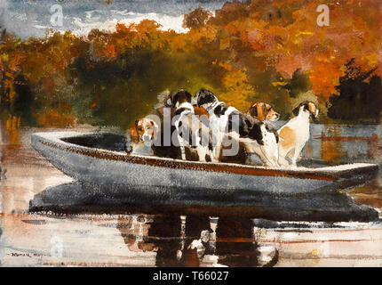 Winslow Homer, Hunting Dogs in Boat (Waiting for the Start), painting, 1889 - Stock Image