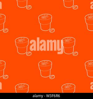 Medical marijuana bottle and tablet pattern vector orange - Stock Image