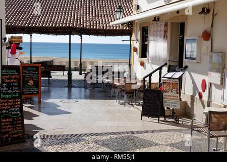 Ocean Front Bars And Restaurants In Albufeira Portugal Winter Season February 2019 - Stock Image