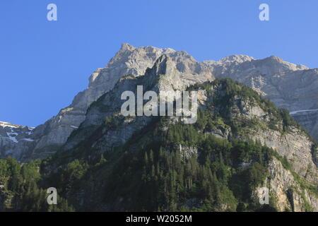 Peak of mount Glaernisch in early summer, Switzerland. - Stock Image