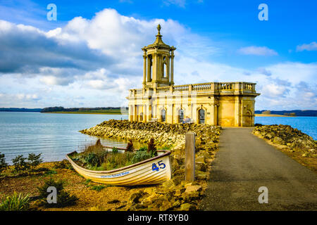 Normanton Church on the bank of Rutland water. - Stock Image
