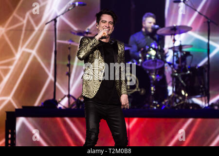 Panic at the Disco! (Brendon Urie)performing at The 02 London on the 29th March 2019 - Stock Image