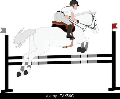 jumping show. horse with jockey jumping a hurdle color illustration - vector - Stock Image