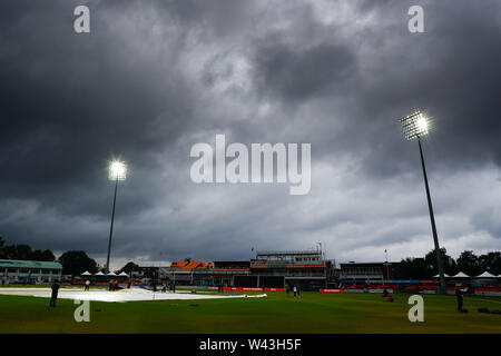 19th July 2019, Fischer County Ground, Vitality Blast T20 Cricket match, Leicestershire versus Lancashire Lightning; Storm clouds gather over the Fischer County Ground before the start of the match - Stock Image