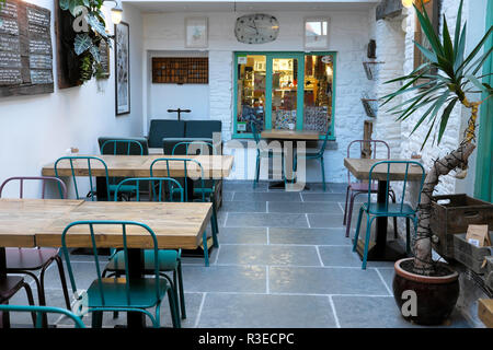 Interior view of the Old Printing Office gift shop and contemporary cafe restaurant in the town of Llandovery Carmarthenshire Wales UK  KATHY DEWITT - Stock Image