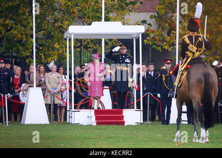HM The Queen inspecting the King's Troop Royal Horse Artillery during a Royal Review for their 70th anniversary. - Stock Image
