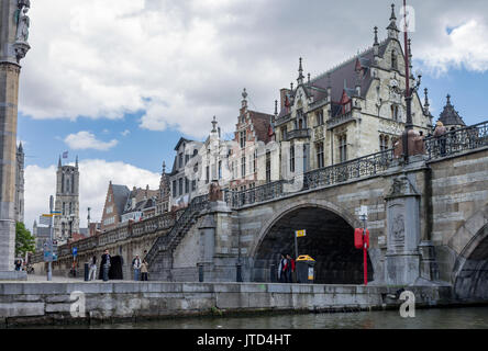 The historical buildings and Saint Michael´s bridge over Lys river in Ghent, Belgium. - Stock Image
