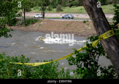 Denver, Colorado USA 26 June 2015 - After weeks of high water flows due to an unusually wet Spring, The South Platte - Stock Image