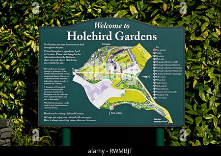 Information board. Welcome to Holehird Gardens. Windermere, Lake District National Park, Cumbria, England, United Kingdom, Europe. - Stock Image