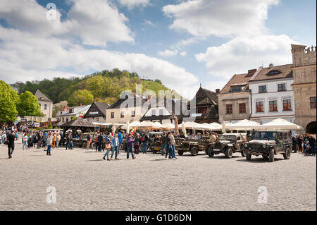 Rally VI military vehicles from World War II in Kazimierz Dolny at the Market square, Poland, Europe, VI Zlot samochodow... - Stock Image