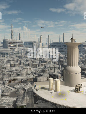 Control Tower at a Future City Spaceport - Stock Image