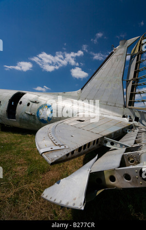 Derelict aircraft, C-47 Skytrain of ex JRV in Otocac, Croatia, tail section and tailpane - Stock Image