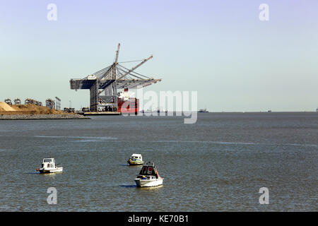 A view of the Thames estuary showing the cranes unloading a ship at the DP World, London Gateway port, Coryton, - Stock Image