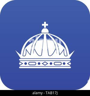 Crown icon digital blue - Stock Image