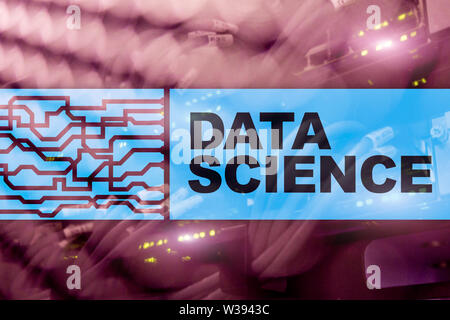 Data Science Artificial Intelligence Concept. Futuristic Supercomputer background - Stock Image