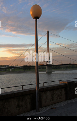 Oberkasseler Suspension Bridge, River Rhine Dusseldorf Germany - Stock Image